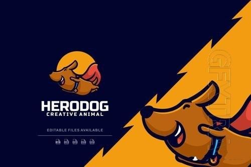 Hero dog cartoon logo vector
