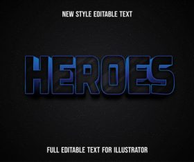 Heroes new style editable text vector
