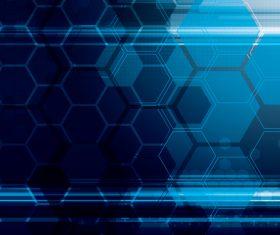 Hexagon geometric blue background vector