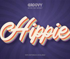 Hippie groovy retro text effect vector