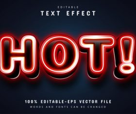 Hot text red neon style text effect vector