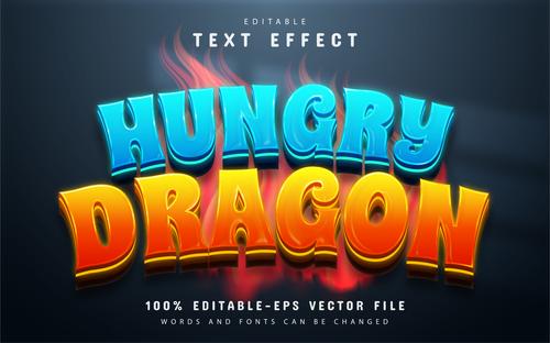 Hungry dragon editable text effect vector