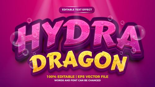 Hydra dragon style 3d template on deep sea background vector