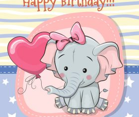 Illustration baby elephant birthday card background vector