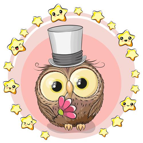 Illustration owl birthday card background vector