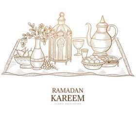 Islamic festival food background vector