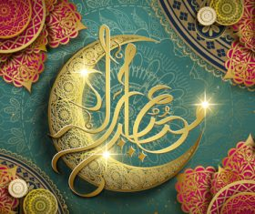 Islamic golden crescent and font card vector