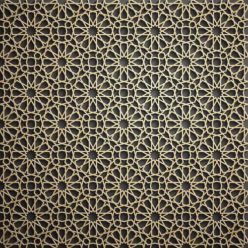 Islamic golden pattern ramadan background vector