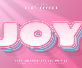 Joy text editable cartoon style text effect vector