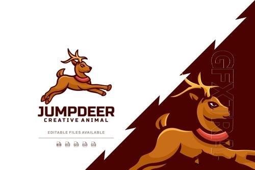 Jump deer simple logo design template vector
