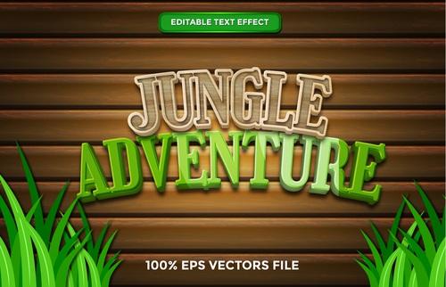 Jungle adventure text effect vector