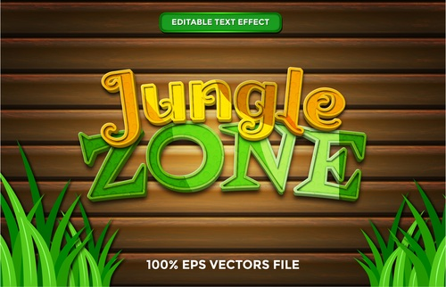 Jungle zone text effect vector