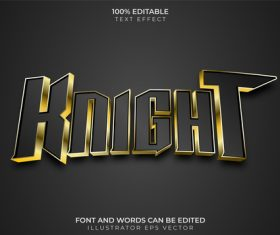 Knight Text Effect vector
