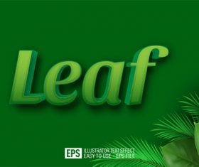 LEAF text effect vector