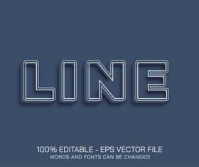 LINE editable text effect vector