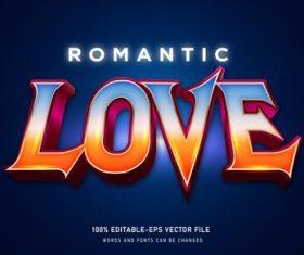 LOVE editable text effect 3D vector