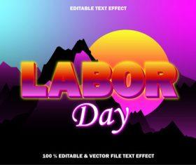Labor day editable text effect retro style vector