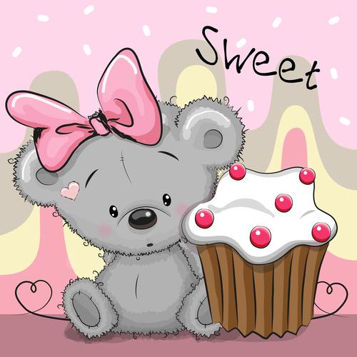 Little bear with cake cartoon illustration vector