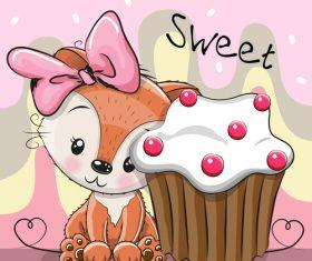 Little fox who likes cake cartoon illustration vector