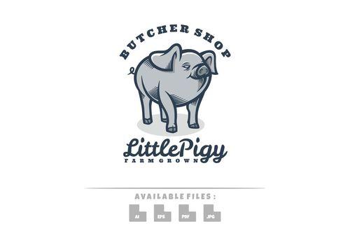 Little pig logo vector