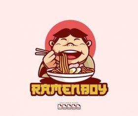 Logo mascot ramen boy design template vector