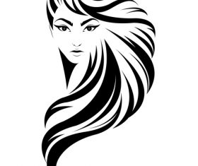 Long-haired girl hairstyle vector