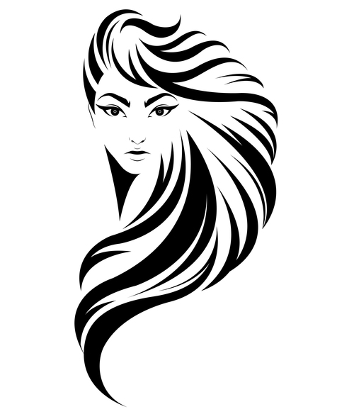 Long haired girl hairstyle vector