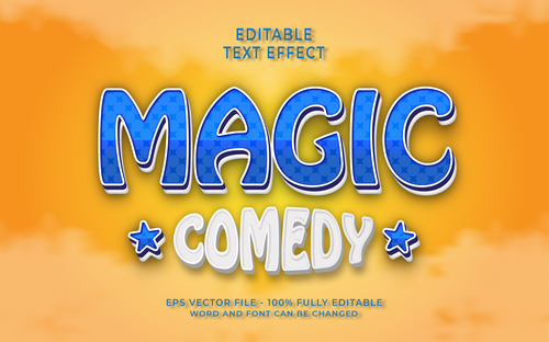 MAGIC COMEDY text effect vector