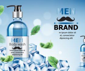 Men body wash cosmetics vector