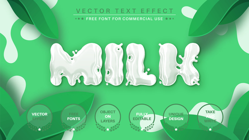 Milk vector text effect