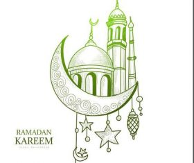 Mosque background hand drawn vector