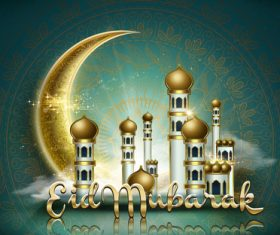 Mosque background ramadan festival card vector