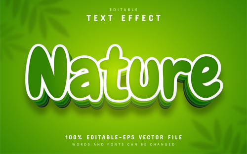 Nature text effect cartoon style vector