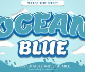 Ocean blue vector text effect vector