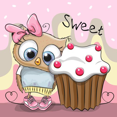 Owl and cake cartoon illustration vector