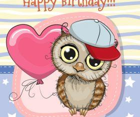Owl cartoon illustration birthday card vector