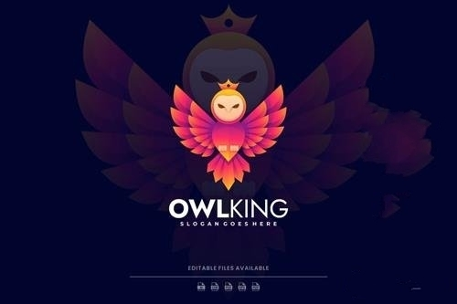 Owl king gradient colorful logo vector