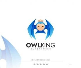 Owl king gradient logo vector