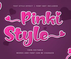 PINKI style text effect vector