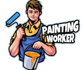 Painting logo design template vector