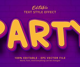 Party editable eps text effect vector