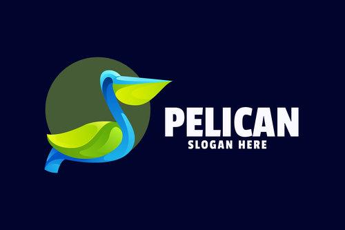 Pelican gradient logo template vector