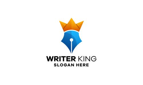 Pen king gradient logo template design vector