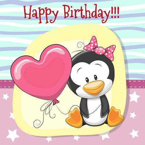 Penguin cartoon illustration birthday card vector
