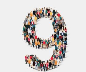 People composition 9 number vector