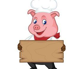 Pig chef carrying wooden board cartoon illustration vector