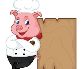 Pig chef leaning on wooden plank cartoon illustration vector