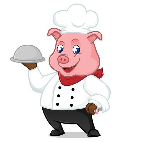 Pig waiter cartoon illustration vector