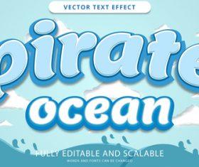Pirate ocean editable text style vector