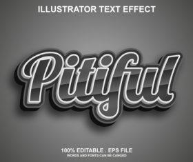Pitiful illustrator text effect vector